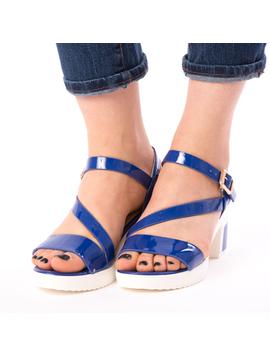 Sandale Dama Cu Toc Bussy Albastre-2