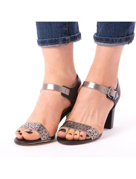Sandale Dama Toc Cu Strasuri si Perforatii Silvia Negre-2