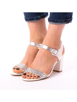 Sandale Dama Toc Cu Strasuri si Perforatii Silvia Albe-2