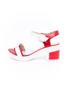 Sandale Cu Toc Dama Velvet Rosii
