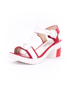 Sandale Cu Toc Dama Velvet Rosii-2