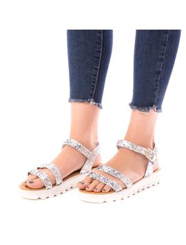 Sandale Dama Cu Sclipici Glamour Silver