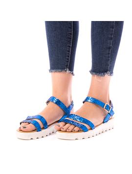 Sandale Dama Cu Sclipici Glamour Albastru