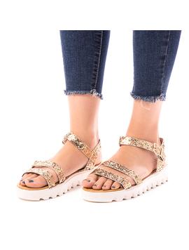 Sandale Dama Cu Sclipici Glamour Auriu