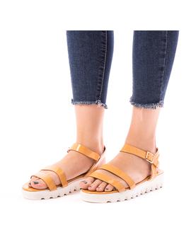 Sandale Dama Cu Platforma Kara Camel