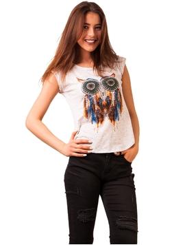 Top Dama Imprimeu Owl Feathers Alb