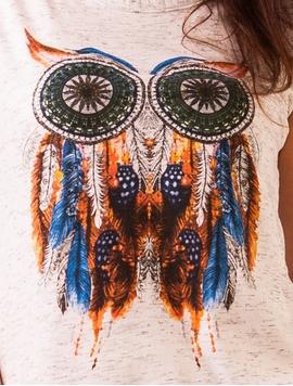 Top Dama Imprimeu Owl Feathers Alb-2