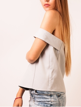 Top Scurt Without Shoulder Grey-2