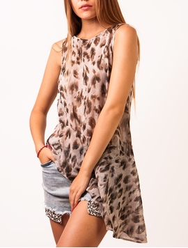 Top Voal Leopard Power Grey