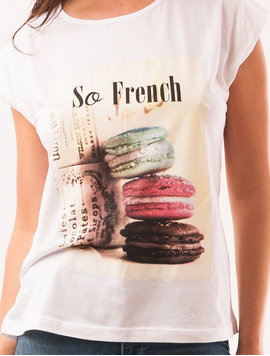 Tricou Dama Cu Imprimeu Macarons So French Alb-2