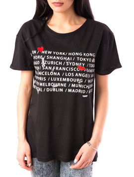 Tricou Dama Imprimeu In Fata All The Cities Negru-2