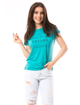 Tricou Dama Cu Imprimeu Believe In Dreams Verde