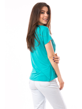 Tricou Dama Cu Imprimeu Believe In Dreams Verde-2