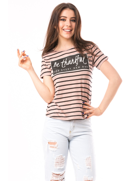 Tricou Dama Cu Imprimeu Be Thankful Maro