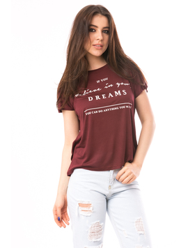 Tricou Dama Cu Imprimeu Believe In Dreams Grena
