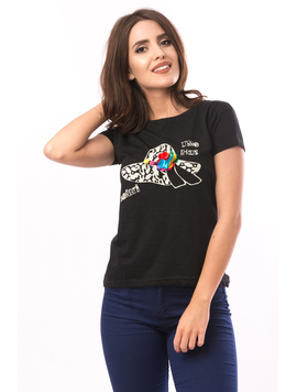Tricou Dama Imprimeu The Hat Negru