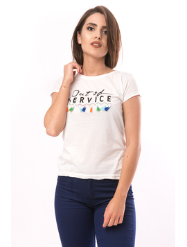 Tricou Dama Cu Imprimeu Out Of Service Alb