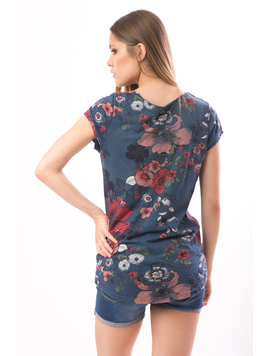 Tricou Dama FriendlyFlowers Bleumarin-2