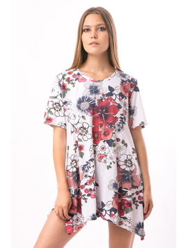 Tricou Dama Lung FriendlyFlowers Alb