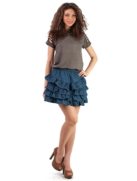 Fusta Mini Blue Ruffle