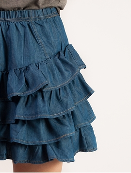 Fusta Mini Blue Ruffle-2