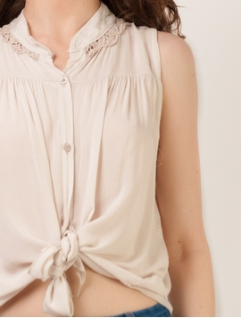 Bluza Tie Up Embroidery Beige-2