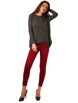 Pantaloni Left Side Zip Garnet