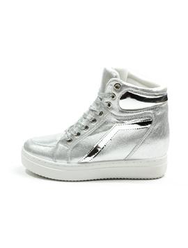 Sneakers Dama Cu Siret Si Platforma HighLander Argintiu