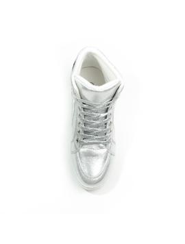 Sneakers Dama Cu Siret Si Platforma HighLander Argintiu -2