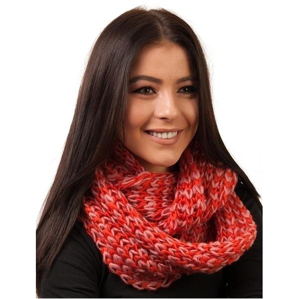 Fular Dama Circular Tricotat Rosu Si Roz