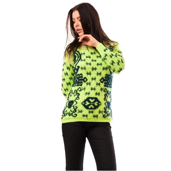 Pulover Dama Cu Model In Fata Code Verde Deschis