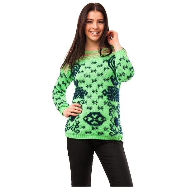 Pulover Dama Cu Model In Fata Code Verde