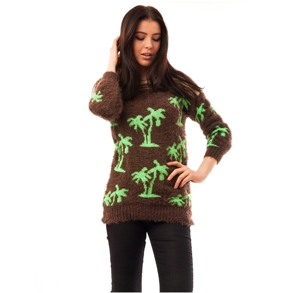 Pulover Dama Cu Model Cu Palmieri Palms Maro Si Verde