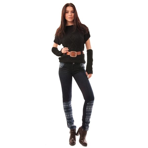 Jeans Dama Cu Model De Iarna Snowflakes Bleumarin