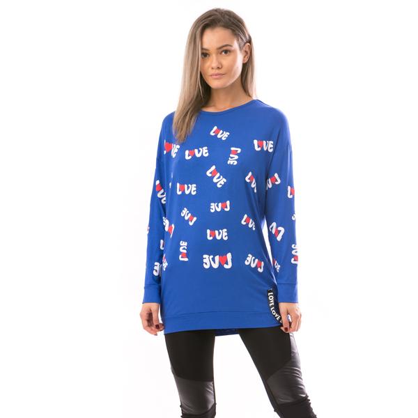 Bluza Dama HeartLove Albastru Alb Si Rosu