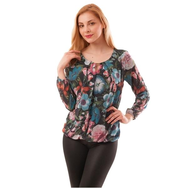 Bluza Dama Din Voal Cu Model Floral Suspicious Neg