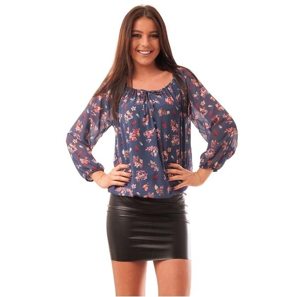 Bluza Dama Cu Model Floral Hurray Albastra