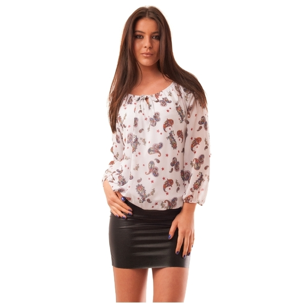 Bluza Dama Cu Model Geometric Hurray Alba