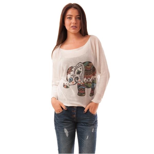 Bluza Dama Cu Elefant India Alba