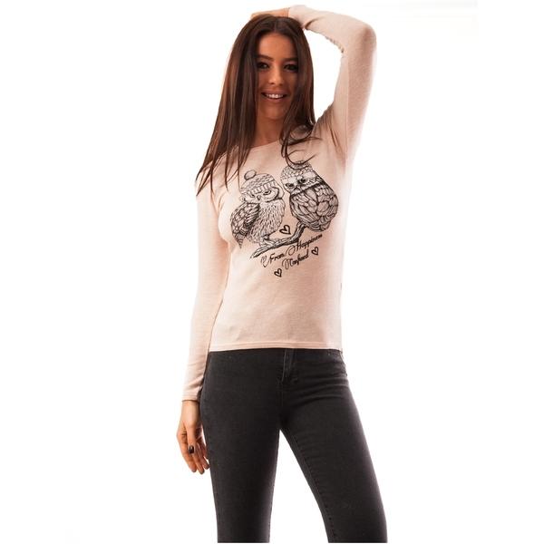 Bluza Dama Cu Model Bufnite Forest Roz