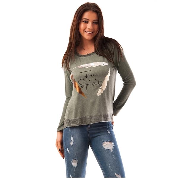 Bluza Dama Cu Paiete In Fata Star Verde Inchis