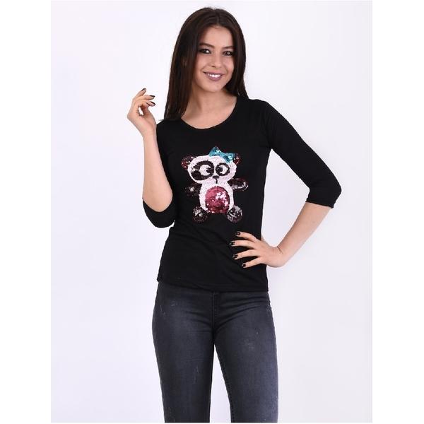 Bluza Dama Cu Ursulet Din Paiete Power Neagra