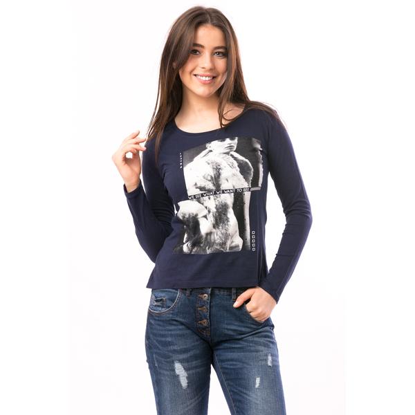 Bluza Dama Imprimeu Cauciucat Story Bleumarin