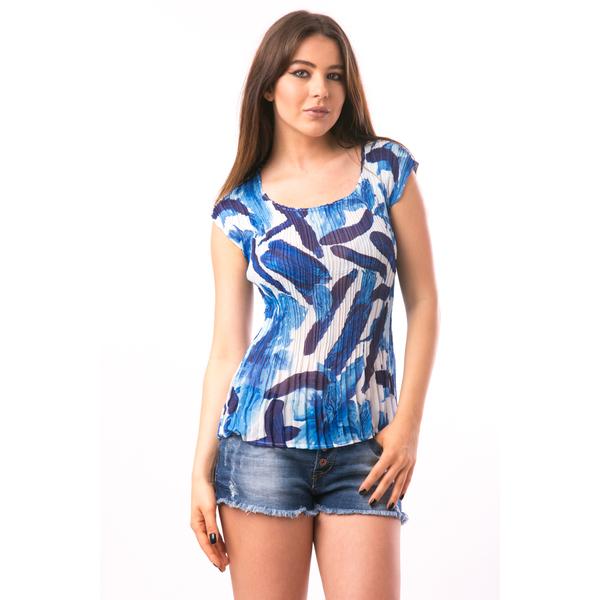 Bluza Dama Creponata Abstract Albastru