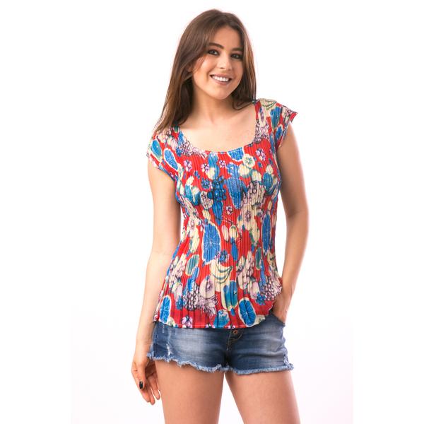 Bluza Dama Creponata Rainbow Rosu