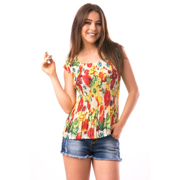 Bluza Dama Creponata Rainbow Galben Si Rosu
