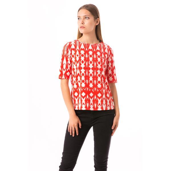 Bluza Dama GeometricPrint Red&White
