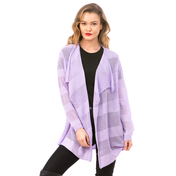 Cardigan Dama Cu Ajur LongSchoolCollection Lila