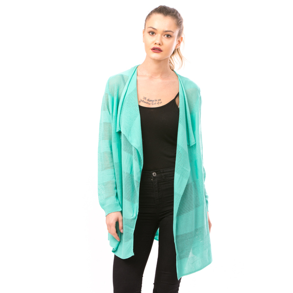 Cardigan Dama Cu Ajur LongSchoolCollection Menta