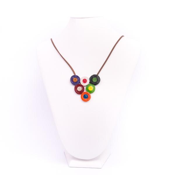 Colier Dama Hand Made Formata Din Cercuri Multicolore snur piele stil quilling